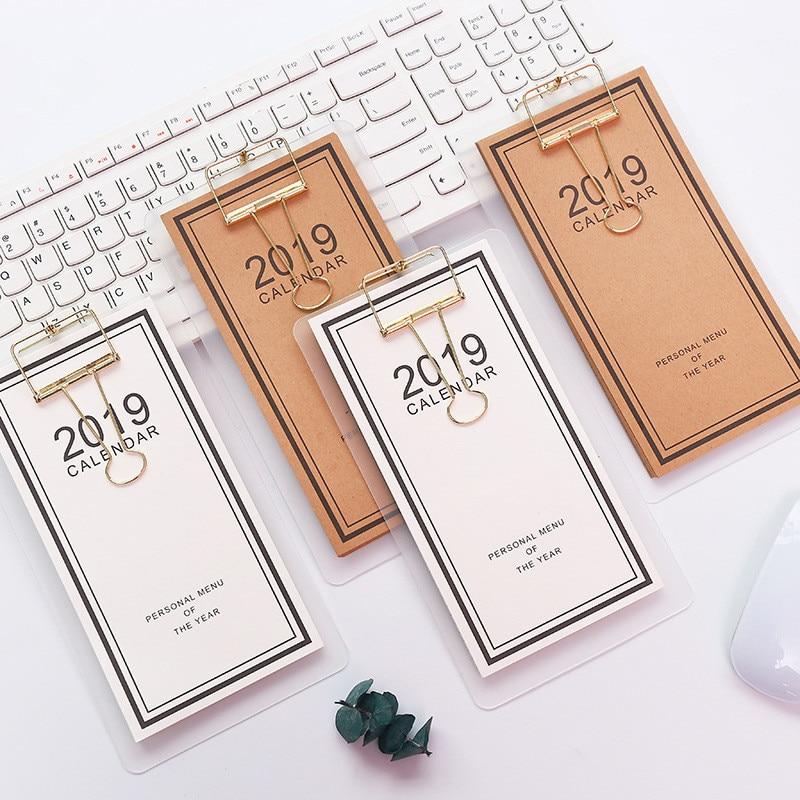 2019 calendário diy papel desktop agenda diária organizador planejador calendários com almofadas de memorando clipe presentes artigos de papelaria suprimentos