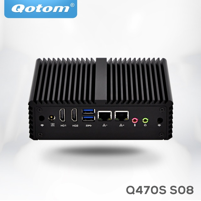 Qotom mini pc i7 Q470S with Core i7-4500U up to 3.0GHz AES-NI 3G/4G SIM slot,WOL 7/24h Fanless Low Power small desktop computer 2