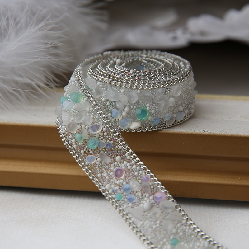 1 unidad de parches para coser de cristal de AHYONNIEX, cinta de diamantes de imitación con perforación en caliente, decoración para vestido de boda o fiesta