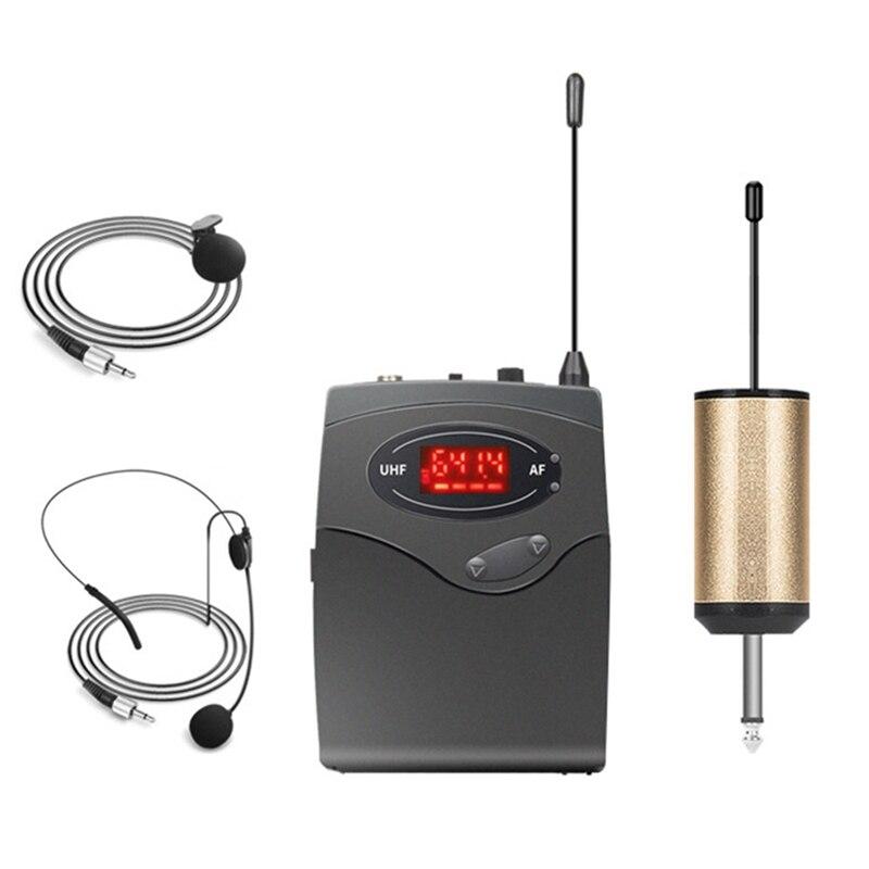 Sistema con micrófono inalámbrico, conjunto de micrófono inalámbrico con auriculares y solapa Lavalier micrófonos transmisor de petaca receptor