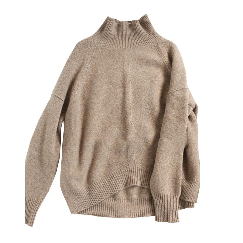 Женский кашемировый свитер с высоким воротом, осенне-зимний свободный свитер карамельного цвета