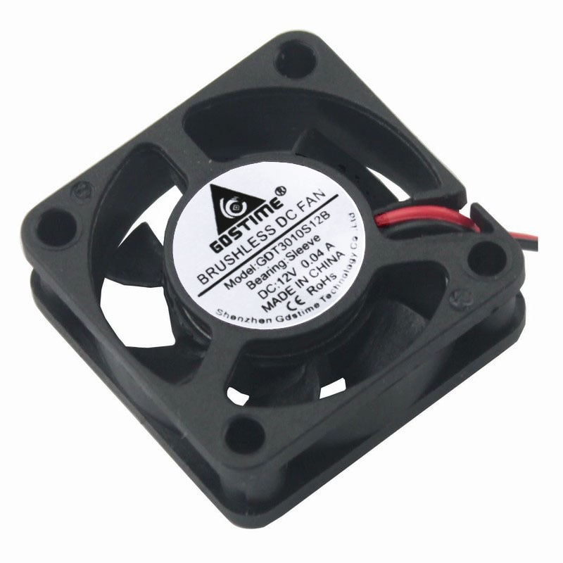 Gdstime 2 pieces 30mm x 10mm DC 12V 2Pin 2.0 3010 Micro Cooler Brushless Cooling Fan 30x30x10mm 7 Blades 0.04A enlarge