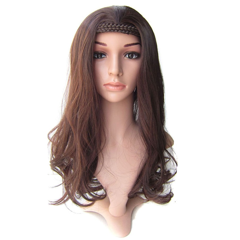 Gres Wavy Half Wigs with Braided Headband High Temperature Fiber Blonde/Brown/Black Synthetic Hairpieces for Lady Padding