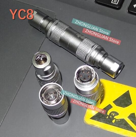1 Conjunto = 2 uds aviación macho y hembra YC8 YC8-2 2core 3core 4core 5core 6core 7core 8MM rápido conector de clavija Air Docking
