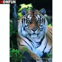 homfun full squareround drill 5d diy diamond painting animal tiger embroidery cross stitch 5d home decor a14229