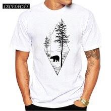 2018 Forest Bear hommes T-Shirt à manches courtes T-Shirt décontracté Hipster ours noir imprimé T-Shirt col rond été TopsCSCFLPCXY