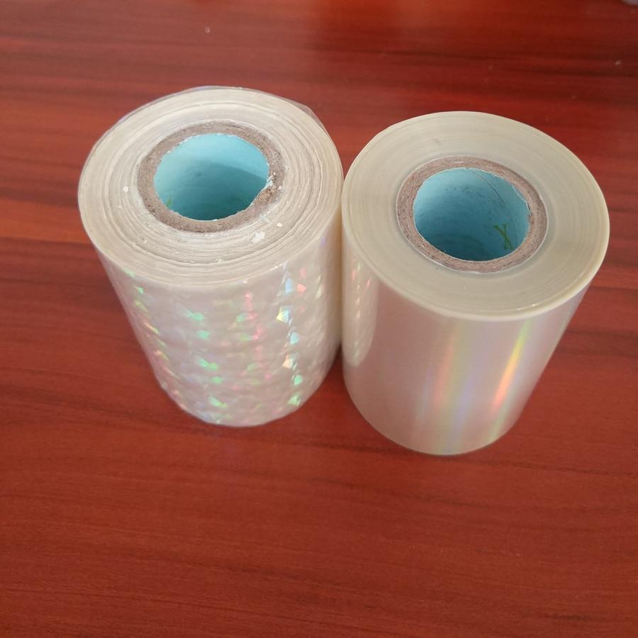Lámina holográfica transparente de dos rollos Estampación en caliente Prensa en caliente en papel o plástico de 8cm x 120m