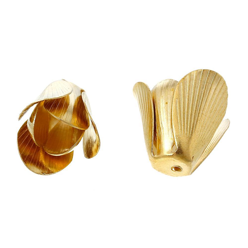 DoreenBeads Brass Beads, колпачки в виде цветов, латунный тон (подходит для бусин 8,0 мм), 17,0 мм (5/8 дюйма) x 16,0 мм (5/8 дюйма), 2 шт., новинка 2015