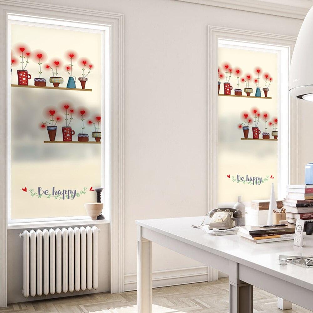 Maceta para flores, película de ventana que se adherente, teñida estática, película de cristal esmerilado para ventana, película de cristal de polietileno BLT1045, maceta para flores
