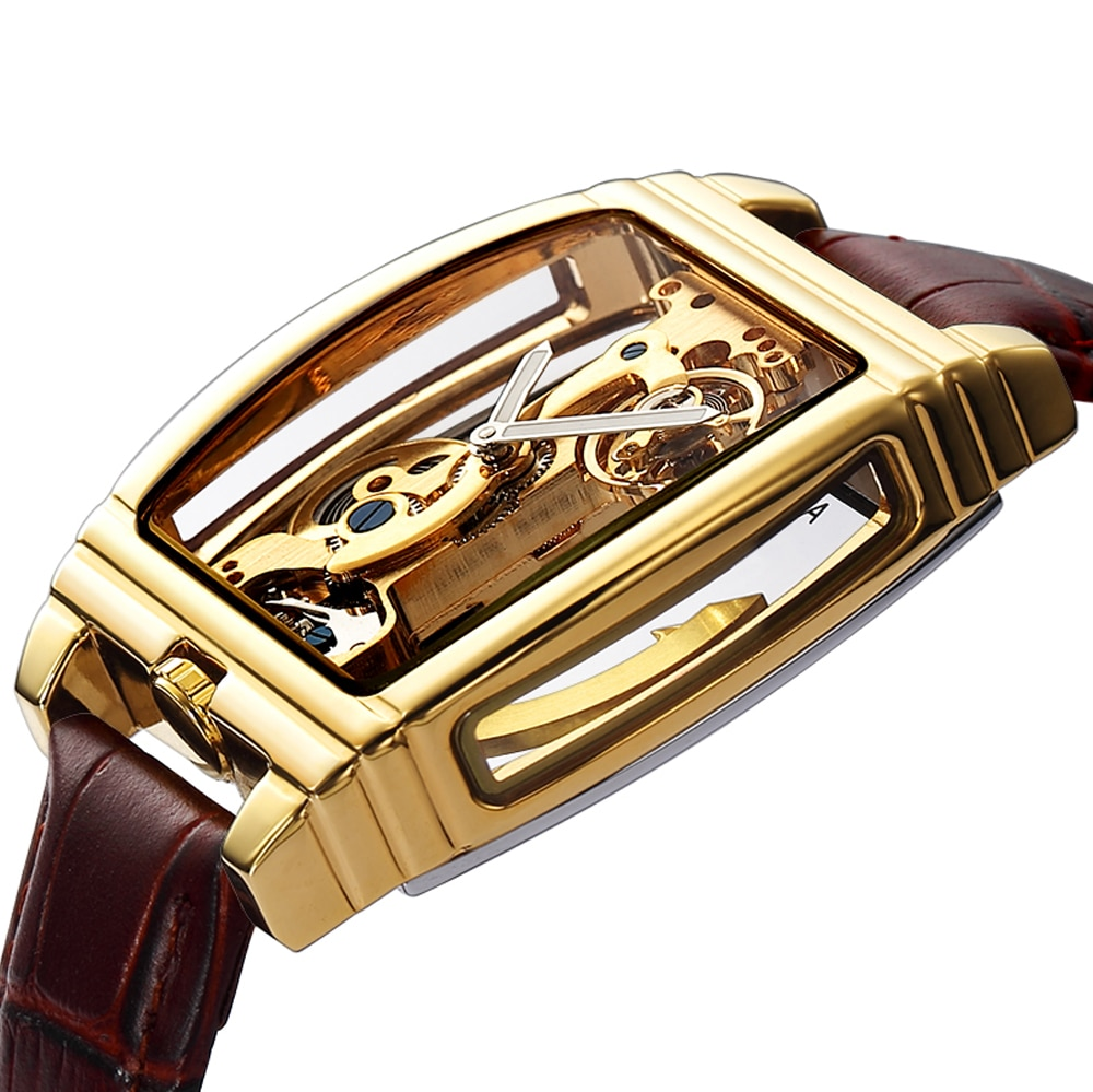 Transparent Automatic Mechanical Watch Men Steampunk Skeleton Luxury Gear Self Winding Leather Men's Clock Watches montre homme ailang original design watch automatic tourbillon wrist watches men montre homme mechanical leather pilot diver skeleton 2019