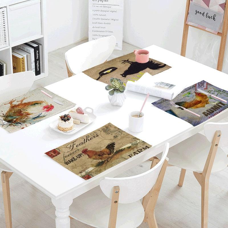 Servilletas de mesa con estampado de gallo grande Retro, tapete de poliéster con estampado de Color 32x42 cm, mantel con diseño de decoración para fiestas