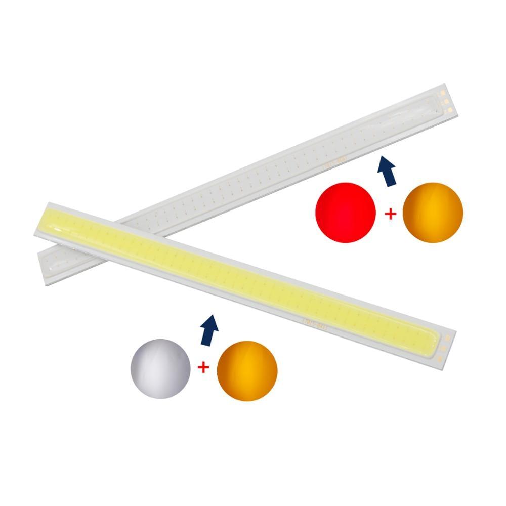 10PCS/Lot allcob manufacturer 170mm*15mm double Color White Red Orange daytime run light LED COB Strip Light 12V DC 8W Moudle