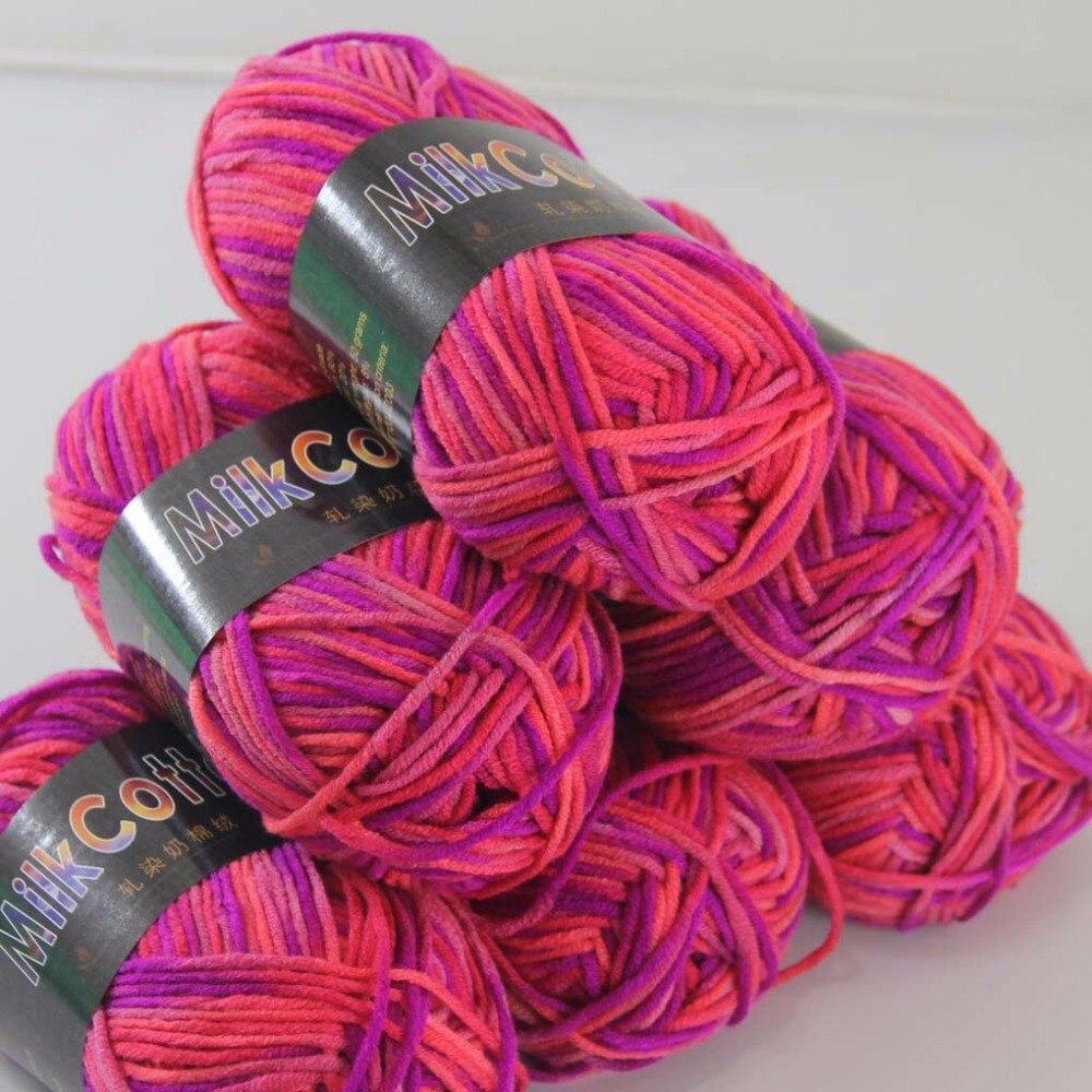 Распродажа, 6ballsx50g, мягкая хлопчатобумажная пряжа для малышей, новые шерстяные носки ручной работы, шарф, трикотажная пряжа, розовый, красный...