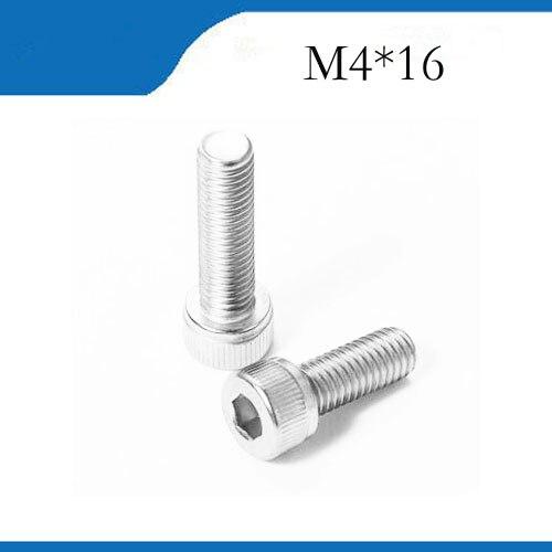 Envío Gratis M4 * 16 100 Uds. De alta calidad de acero inoxidable 304 tornillo de cabeza hexagonal, tornillo DIN912 perno de acero inoxidable, revet, pernos