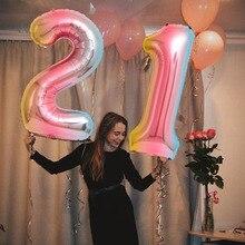 2pcs 32 inch gradient digital aluminum foil helium balloon21/24/26/30 years old digital balloon adult birthday party decoration