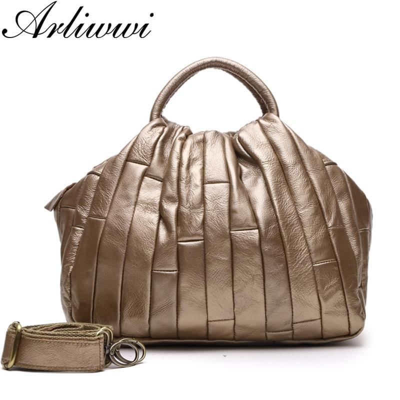 Arliwwi حقيبة جلدية صغيرة حقيقية للنساء حقيقية جلد البقر اليدوية المرقعة أنيقة عبر الجسم حقائب سيدة GJ01