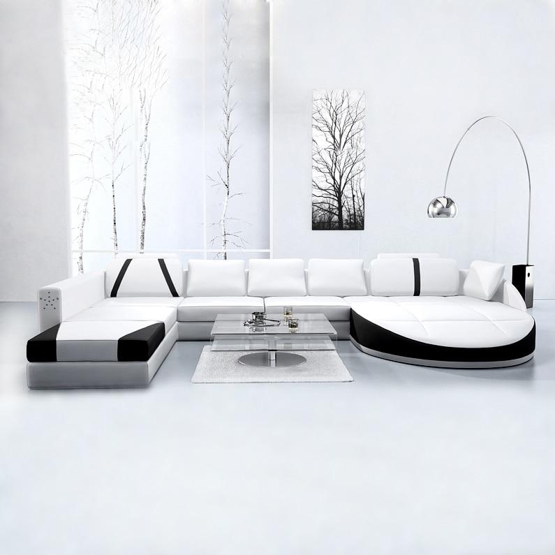 white 2 pcs chaise lounge leather+1 pcs 2 seat  leather sofa furniture set #CE-A03