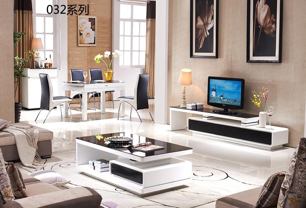 CJTV032 الحد الأدنى الحديثة غرفة المعيشة البيانو الطلاء الأثاث مرنة حامل تلفاز خزانة القهوة طاولة شاي مجموعة اثاث
