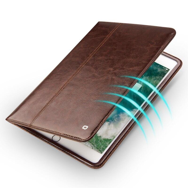 Funda QIALINO de cuero genuino ultrafino para iPad Pro 10,5 pulgadas de lujo Flip patrón de moda Stents Dormancy función Stand Cov