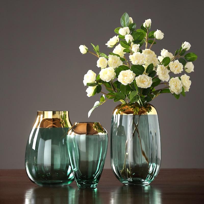 Modern glass vase Originality Light luxury Hydroponics flower vase Tabletop terrarium glass containers wedding home decoration