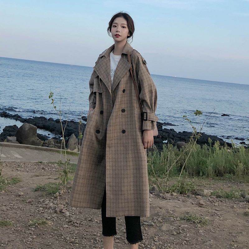 Korean Style Ladies Trench Coat Plaid Long Double Breasted Belted Oversize Loose Women Duster Coat O