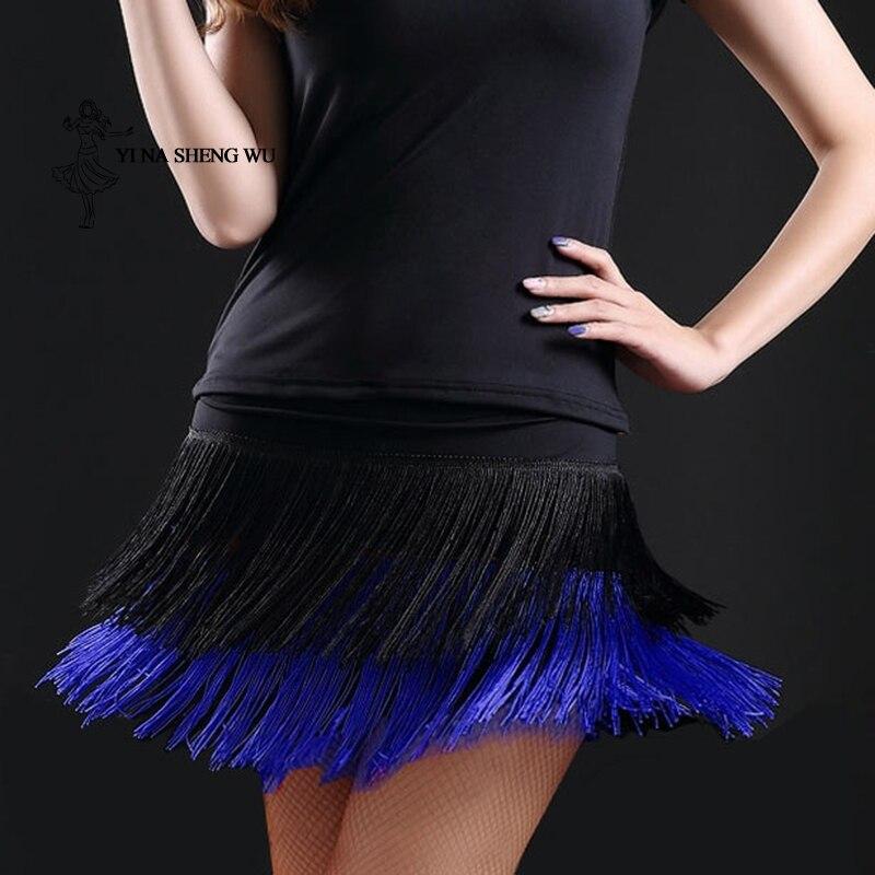Saia de dança latina para mulheres adulto senhora dupla borla latina saia de dança franjas contém venda quente