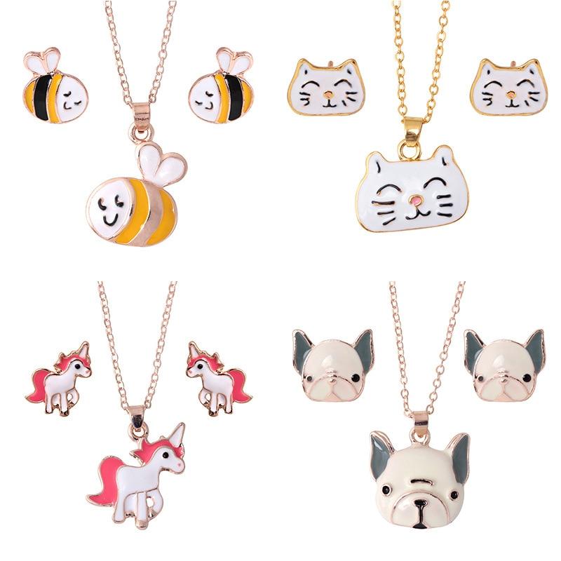 Wholesale Cute Animal Jewelery Set Unicorn Horse Necklace Earring Dog Cat Bee Necklace Earings Jewelery Suit For Women Girls