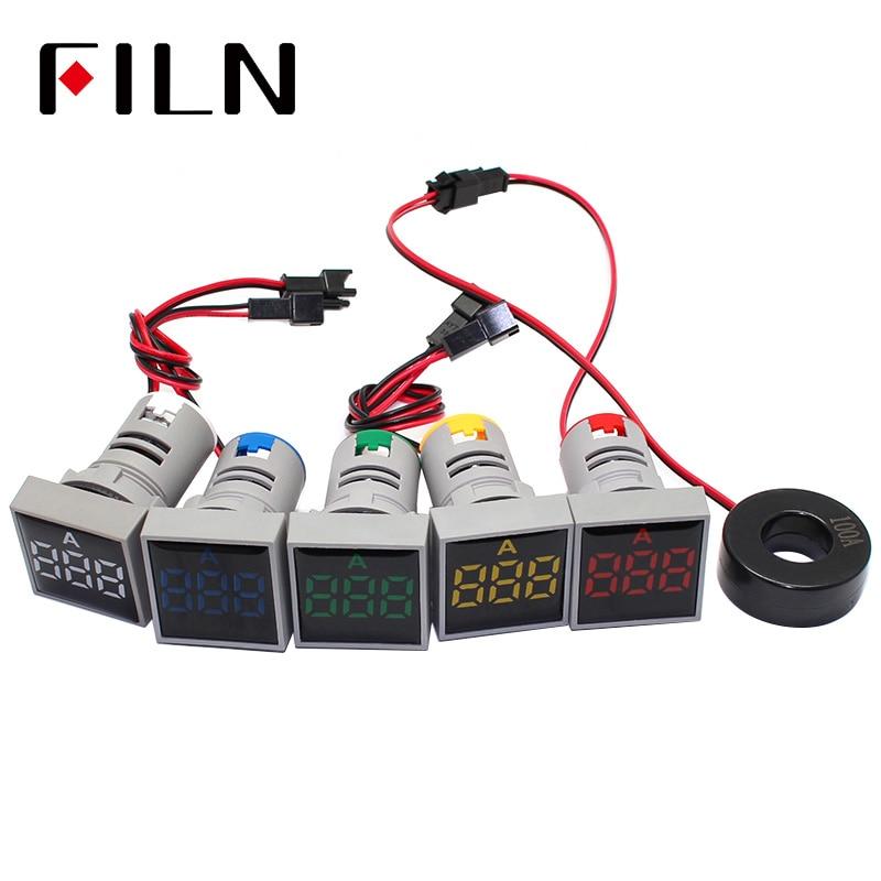 Цифровой амперметр переменного тока 220 В 22 мм 0-100A измеритель тока сигнальная лампа амперметр