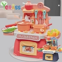 kids kitchen set fast food girls toys pretend play cooking toy cutting fruits and vegetables dinette child toy mini food