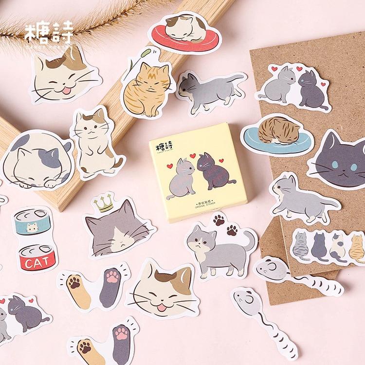 45-pz-pacco-giochi-per-bambini-gatti-carino-adesivi-decorativi-scrapbooking-etichetta-bastone-diario-ufficiale-adesivi-cancelleria-album-di-adesivi