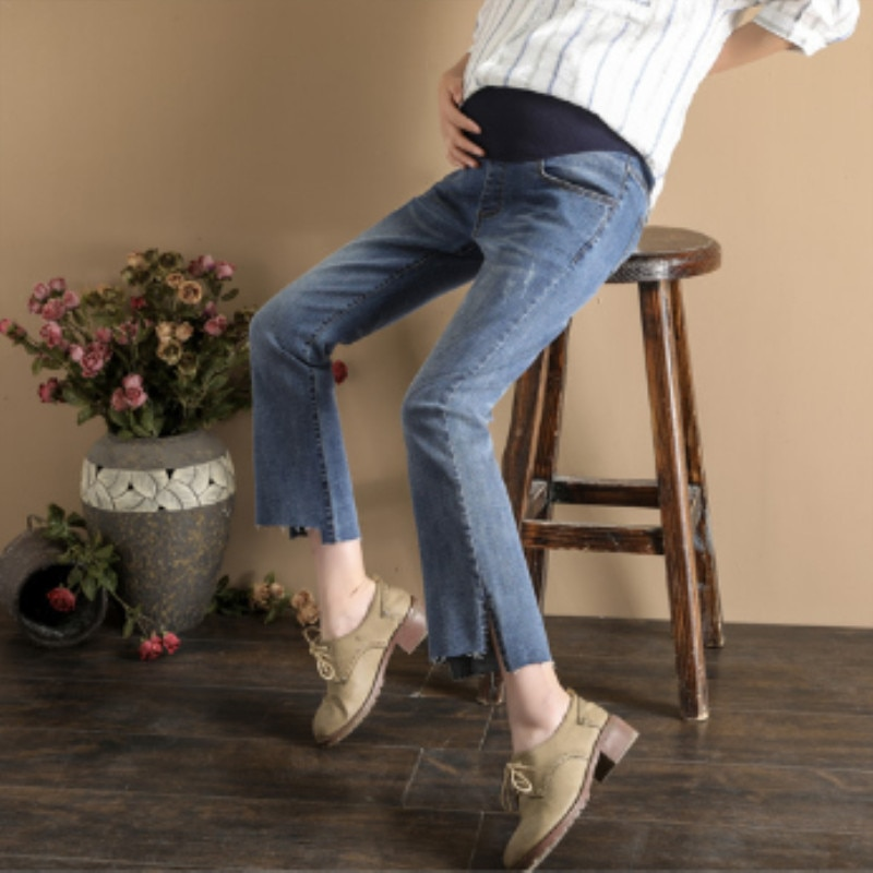2019 spring new pregnant women jeans loose large size pregnant women stomach lift nine points long pants fashion bell pants enlarge