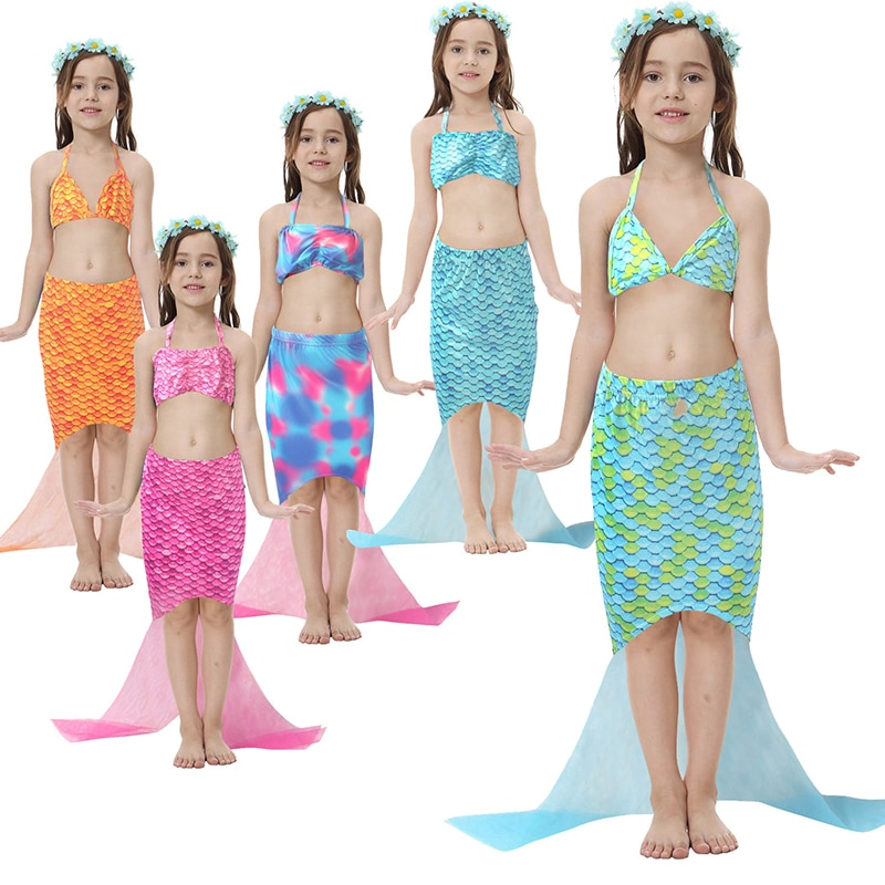 Traje de baño de sirena para niñas de 5 estilos de verano, chaleco superior con correa de 2 piezas + conjunto de Bikini con falda de cola de sirena para niñas de 5 a 12 años