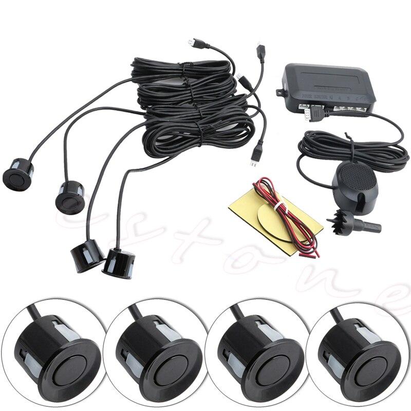 4 Sensores de estacionamento Buzzer Traseira de Backup Do Reverso Do Carro Kit Radar Sistema de Alarme Sonoro