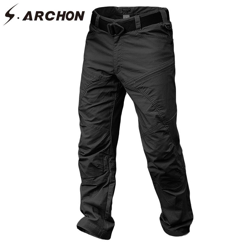 Мужские брюки-карго S.ARCHON, зимние водонепроницаемые армейские брюки-карго из хлопка с карманами и защитой от ветра