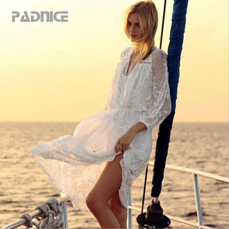 Vestido Mujer blanco verano encaje vestido de fiesta Spaghetti Strap bordado volante Sexy playa vestidos Longuette fiesta encaje Maxi vestidos