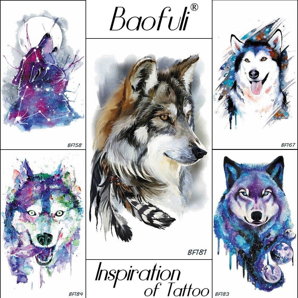 Baofuli Husky Galaxy, tatuajes de acuarela, Lobo, falsos tatuajes, pluma Triabl, Luna, zorro, tótem temporal, arte, pegatinas de tatuaje para hombres y mujeres