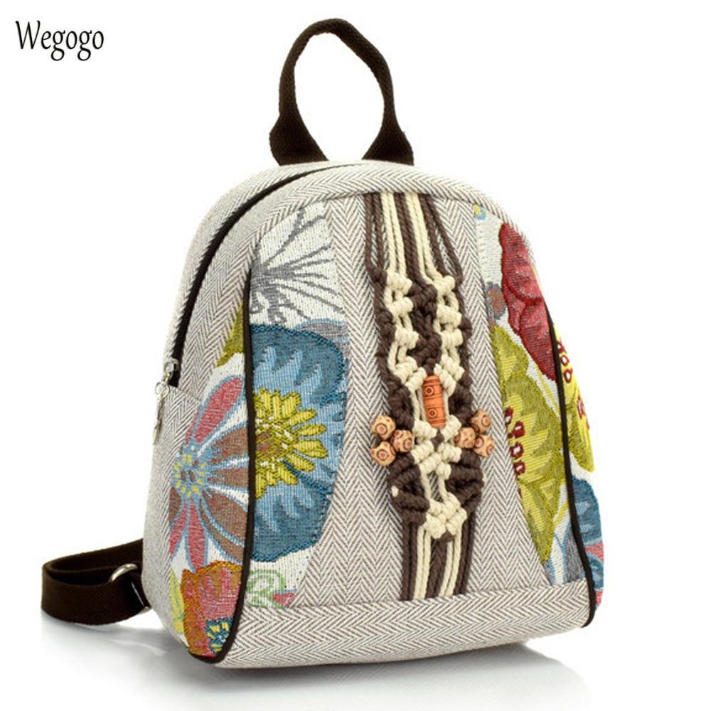 ¡Novedad de 2020! Mochila Retro para mujer, bolso de hombro femenino de lino de algodón tejido a mano puro, Mochila pequeña, bolso antiguo, mochilas escolares para estudiantes.