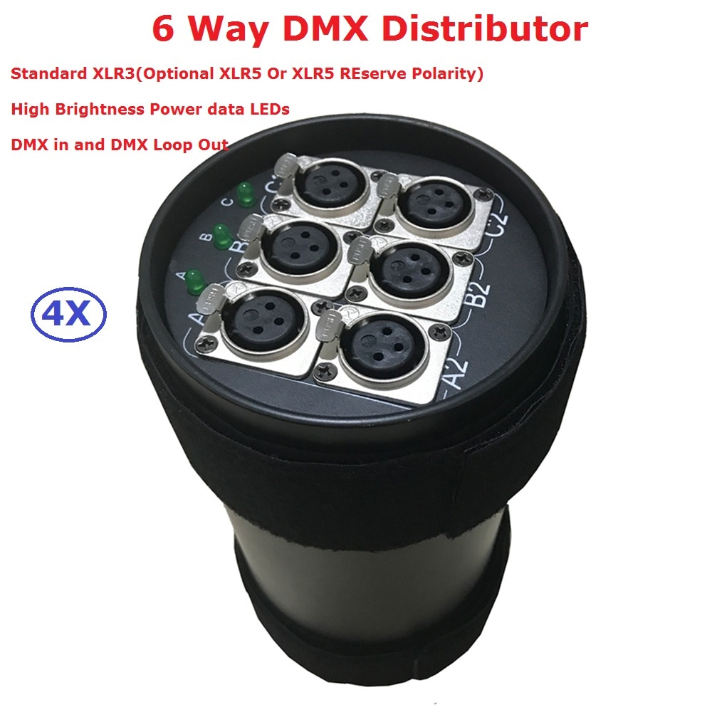 4Pcs Disco Light Equipments 6 Way DMX Distributor With Original Neutrik-3pin XLR Module DMX Splitter 6 Channels Separately Power tiptop tp d16 artnet dmx 4 four way artnet dmx bi directional converter 4 female 3pin xlr in out signal converte ethernet cable