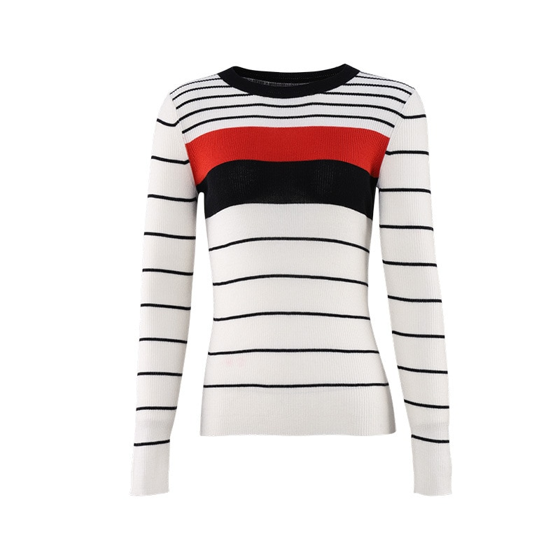 Round neck sweater women's new stripes thin Wool long-sleeved slim bottoming Sweater enlarge