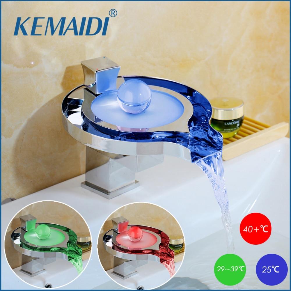 KEMAIDI-صنبور حمام نحاسي Led ، حوض حمام ، صنبور 3 ألوان متغيرة