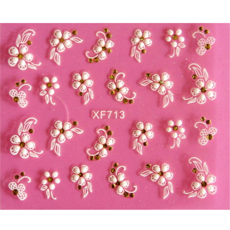 Lovely 3D flower design Water Transfer Nails Art Sticker decals girl women manicure tools Nail Wraps