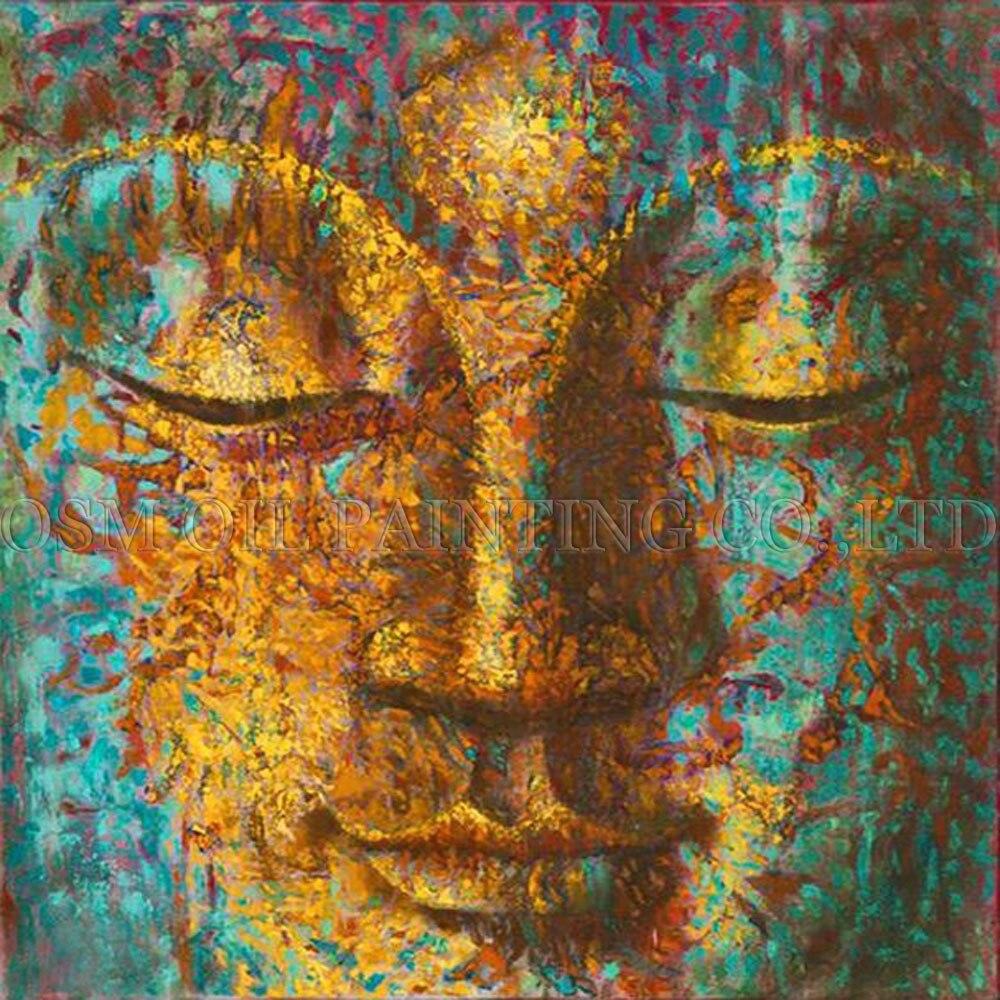 Pintura al óleo abstracta hecha a mano de gran técnica para el arte de la pared pintado a mano cara completa abstracta de Buda pintura al óleo