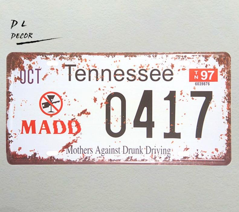 DL-OCT TENNESSEE 0417 matrícula Vintage lata signos Bar decoración de pared de hogar y bares póster metálico Retro