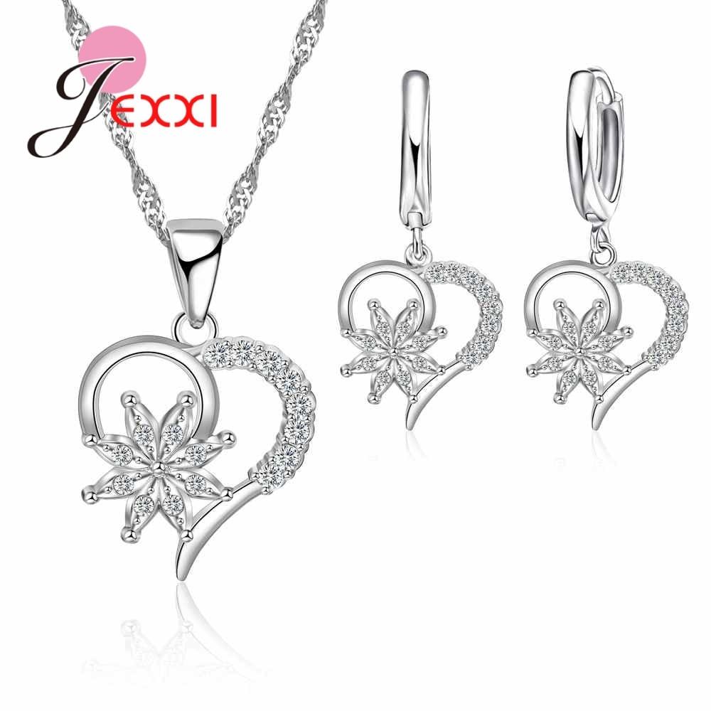Unique Design Simple Hollow Heart and Flower Shape Necklace Earrings Jewelry Sets Women 925 Sterling Silver  Bijoux