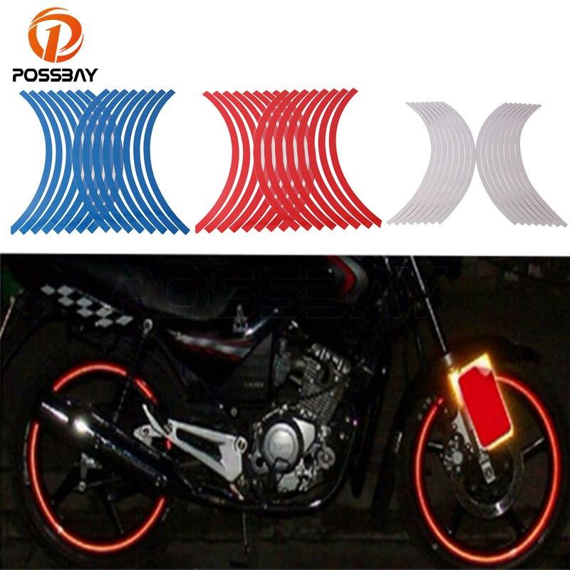 POSSBAY Car/Moto Auto Motorcycle Wheel Hub Tire Sticker Decorative Strip Wheel Reflective Rim Tire Protection Care Covers Bike