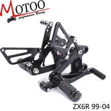 Reposapiés ajustables de aluminio CNC completo para motocicleta pedal de estribo juegos traseros clavijas de pie para KAWASAKI ZX6R ZX-6R 1999-2002