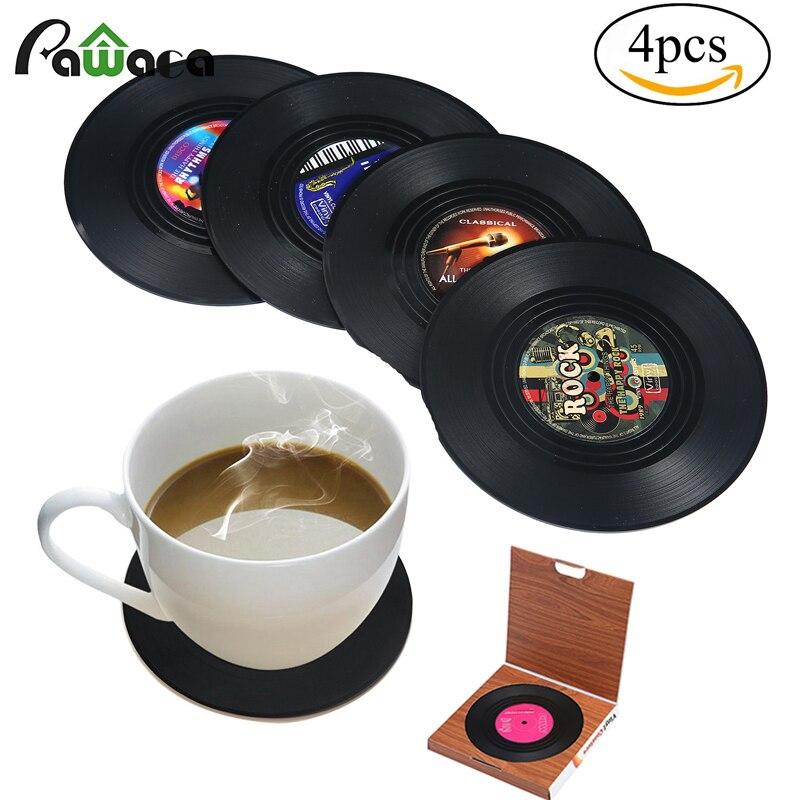 6/4 Uds Retro vinilo CD registro posavasos de bebidas set posavasos para mesa para el hogar creativo café bebida mantel vajilla Spinning regalo divertido