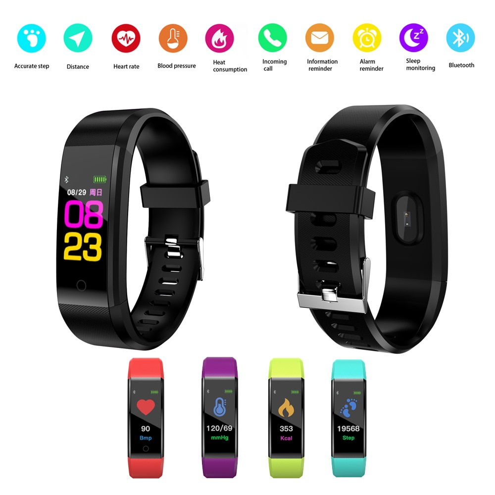 Inteligente de pantalla táctil Fitness pulsera impermeable BLE 4,0 pulsera inteligente de presión arterial de calidad de sueño Tracker