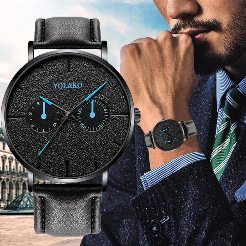 2019 casual couro novo relógio azul ponteiro cinto de quartzo moda masculino relógio yolako relógio pulso relogio masculino