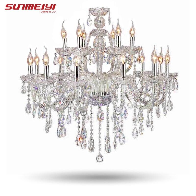 ثريا كريستال فاخرة كبيرة ، مصباح سقف حديث لغرفة المعيشة ، 18 الذراع ، تركيبات الإضاءة ، زينة الزفاف